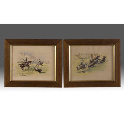FERRER, Antonio. Pareja de dibujos en gouache y tinta sobre papel. Pareja de escenas taurinas. Ambos firmados y uno de ellos dedicado. Medidas: 33x28cm s/m 25x20cm.