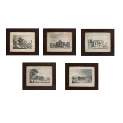 JOSÉ MARÍA AVRIAL Y FLORES (Madrid, 1807- 1891). Conjunto formado por 5 vistas de Madrid. Litografías sobre papel. Enmarcadas. Medidas: 20,5 x 26 cm.