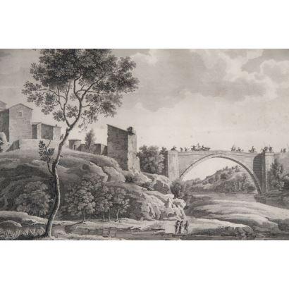 JACQUES MARTIN SYLVESTRE BENCE (France, 1770?-18..). Puente de Vieille-Brioude. Litografía sobre papel. Enmarcado. Medidas: 33 x 50 cm.