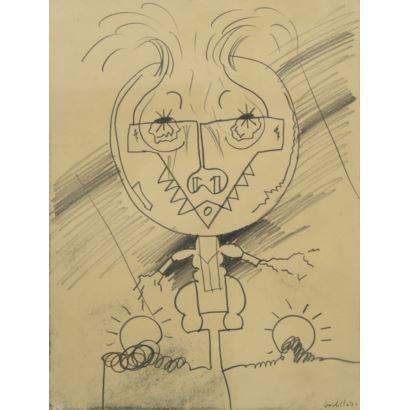 GORDILLO, LUIS (Sevilla, 1934). Dibujo a lápiz sobre papel. Firmado y fechado Gordillo 76. Medidas sin marco 30 x 24 cm. Enmarcado.