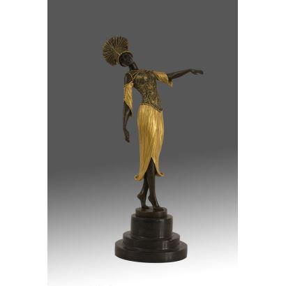 Bella escultura en bronce estilo Art Decó