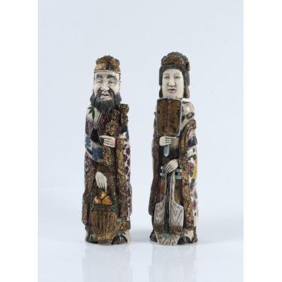 Pareja de perfumeros, China, S. XVIII.