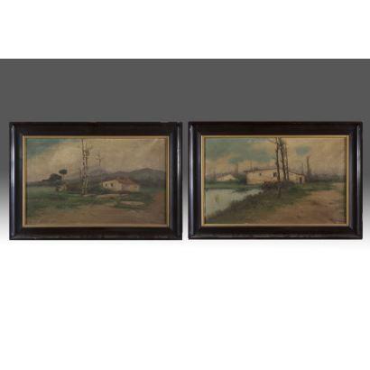 Pintura del siglo XX. Pareja de óleos sobre lienzo. ss.XIX-XX.