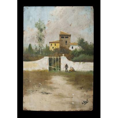 Pintura del siglo XX. Vista de personajes en muro. Óleo sobre tabla. Firmado A. Avril en ángulo inferior derecho. Medidas: 30 x 20 cm.