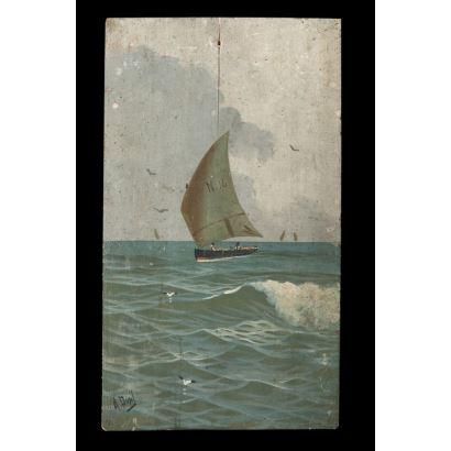 Pintura del siglo XX. Velero navegando. Óleo sobre tabla. Firmado A. Ausil en ángulo inferior izquierdo. Medidas: 31 x 18 cm.