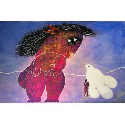Pintura del siglo XX. JUAN GARCÍA RIPOLLES (Alcira, 1932).Personaje contemplando paloma. Es una obra excepcional por las dimensiones de la obra nada comunes en el autor.Medidas: 195 x 130 cm.