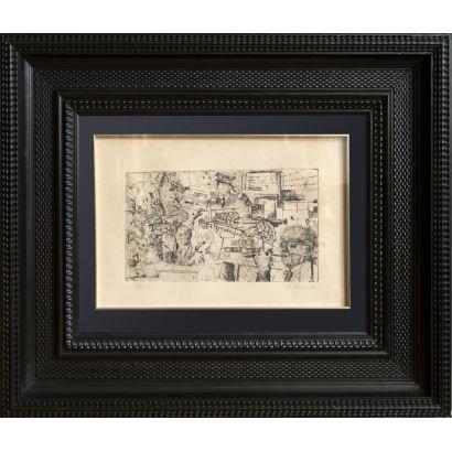 Grabado en blanco y negro en marco de madera tallada y ebonizada. Numerado 3/30. Sin título. Firmado a lápiz en ángulo inferior derecho: A. Aguiniano. Medidas: 46x56cm.