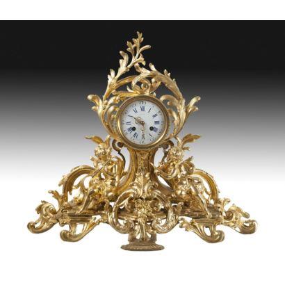 Reloj de sobremesa, estilo francés, S. XIX.