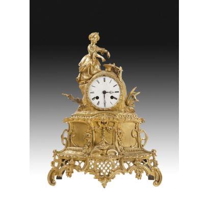 Reloj de sobremesa en bronce, s. XIX.