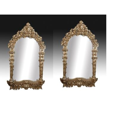 Pareja de espejos barrocos, siglo XVII y posterior.