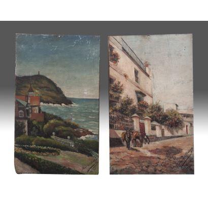 Pintura del siglo XX. Pareja de óleos sobre tabla.