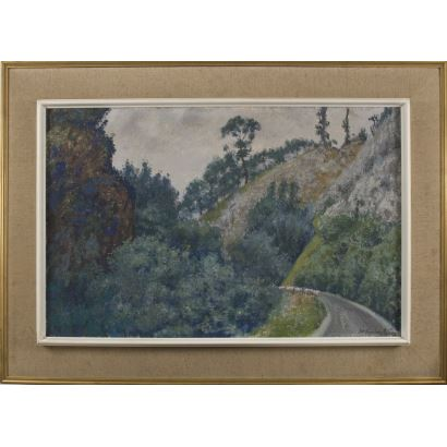 Pintura del siglo XX. FERNÁNDEZ PELÁEZ, José María (Mieres, 1899-1986, Madrid). Óleo sobre tablex.