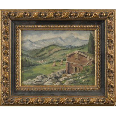 Pintura del siglo XX. Óleo sobre cartón.