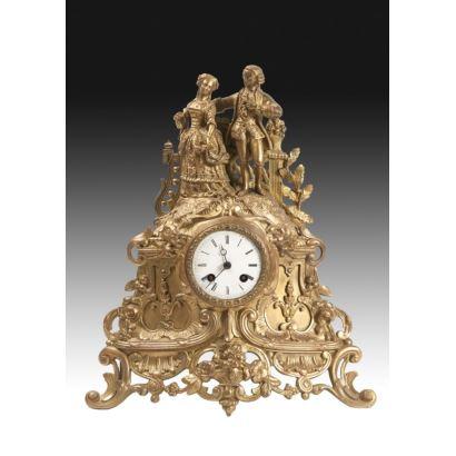 Reloj de sobremesa en bronce, siglo XIX.