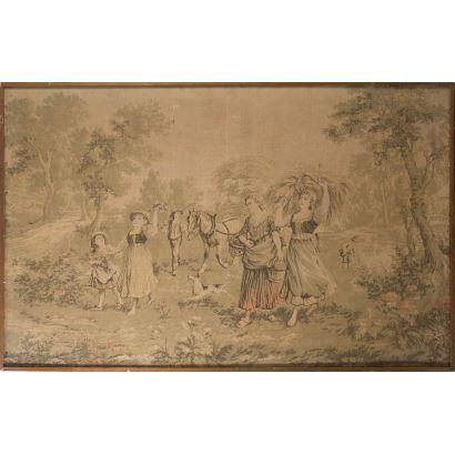 Tapiz enmarcado rectangular, en él vemos una escena bucólica pastoril formada por mujeres y niños que caminan por el campo. 99,5x155,5cm s/m 97x153cm.