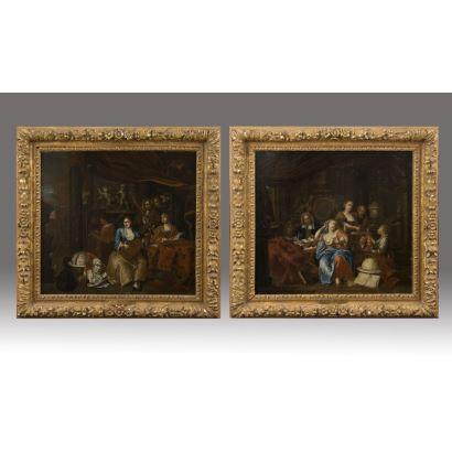 Franz Xaver Hendrik VERBEECK (Amberes, 1686-1755).  Pareja de óleos sobre lienzo.