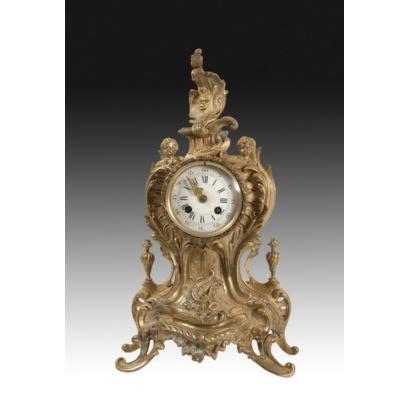 Reloj de sobremesa, estilo Luis XV, S. XIX.
