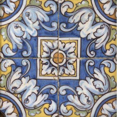 Panel de cuatro azulejos, Talavera, siglo XVIII.