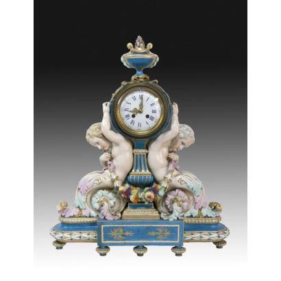 Reloj de sobremesa, Meissen, S. XIX.