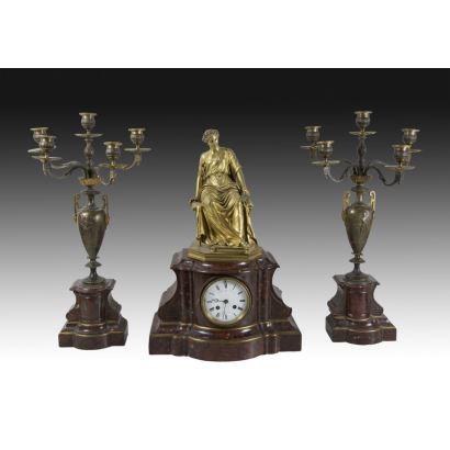 Relojes. Reloj con guarnición, Napoleón III, Raingo Frères
