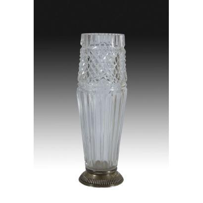 Vidrio. Jarrón de cristal y plata, siglo XX.