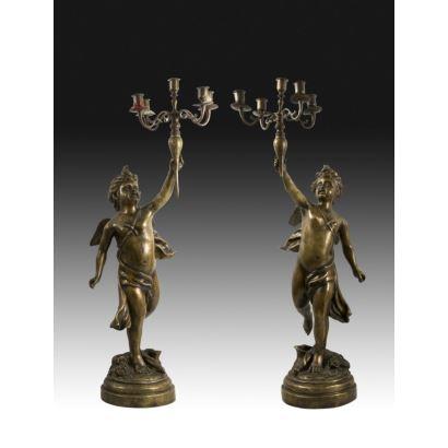 Pareja de candelabros, Francia, siglo XIX.