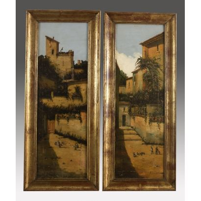 Pareja de óleos sobre lienzo. ss.XIX-XX.