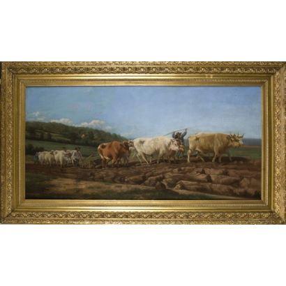 Pintura del siglo XIX. MOTA Y MORALES, Vicente. Óleo sobre lienzo.