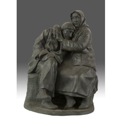 Escultura en terracota policromada de caracter realista