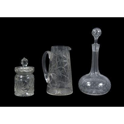 Conjunto de piezas en cristal, ppios. S. XX.
