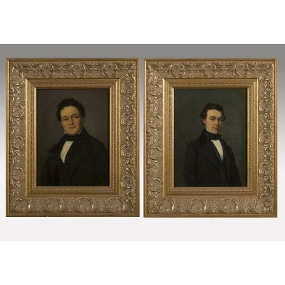 Ante nosotros una magnífica pareja de retratos decimonónicos en la que aparecen dos personajes masculinos sobre fondo neutro. 51x42'5/sin marco 32x24'5cm
