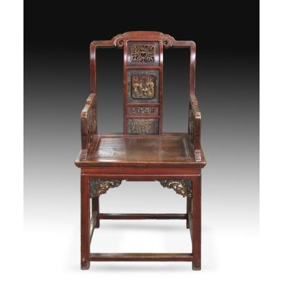 Conjunto de 4 sillas Orientales, siglo XIX.