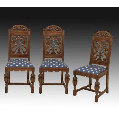 Conjunto de sillas estilo renacimiento inglés, ppios. s.XX.