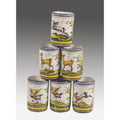 Lote formado por seis jarras con asa realizadas en cerámica policromada de Talavera con motivos de animales. 12x10cm.