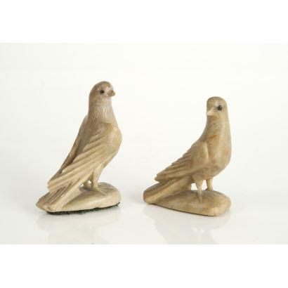 Arte Oriental. Pareja de aves en piedras duras, pps. siglo XX.