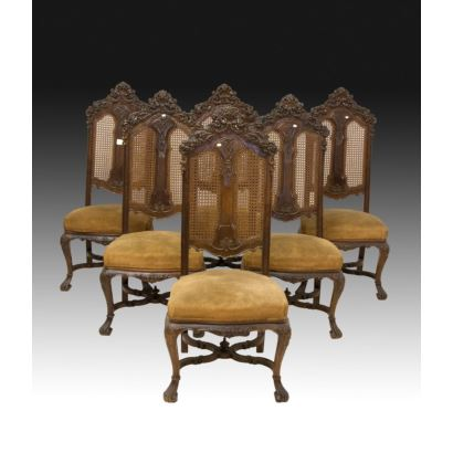Conjunto de sillas estilo William and Mary, S. XIX.
