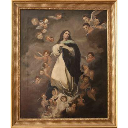 Escuela española, siglo XIX. Inmaculada. Óleo sobre lienzo. Medidas: 100 x 81 cm.