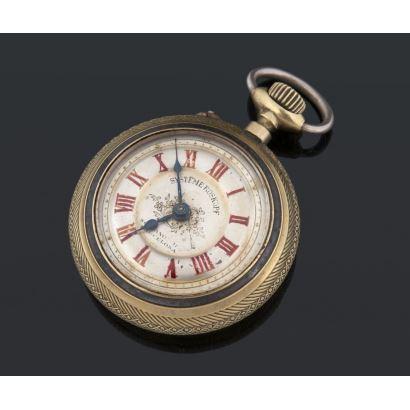 Reloj de bolsillo maquinaria Roskopf, PPIOS. S. XX. Realizado en bronce y hierro. Estado de marcha. Diámetro: 5,5 cm