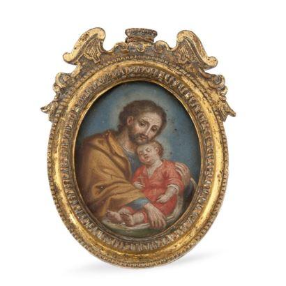 Relicario, S. XVIII. Óleo sobre cobre. Representa a San José al niño. Con marco en metal dorado.  Medidas: 11X8cm