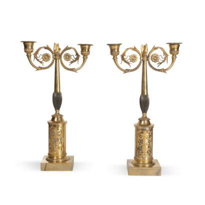 Pareja de candelabros estilo Imperio, S. XIX.