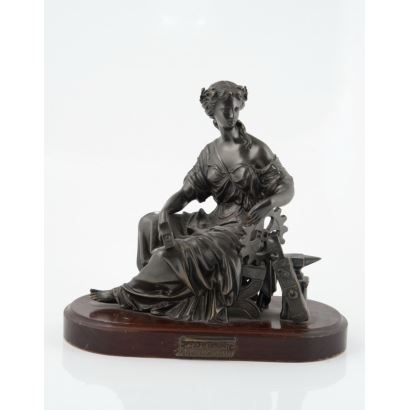 Escultura en bronce, Ricardo Soriano Cerdán, siglo XX. Alegoría de la Industria. Con base de madera. Medidas: 26 x 12 x 27 cm.