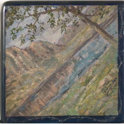 Placa de azulejo pintado.