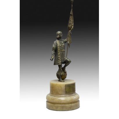 Cristobal Colón en bronce, años 40.