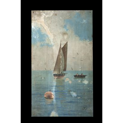 Vista marítima con velero. Óleo sobre tabla. Firmado A. Ausil en ángulo inferior derecho. Medidas: 31 x 18 cm.