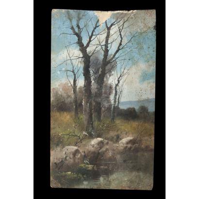 Arboleda junto al rio. Óleo sobre tabla. Firmado Buin en ángulo inferior izquierdo. Necesita restauración Medidas: 31 x 18 cm.