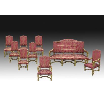Conjunto de salón estilo Luis XVI, Francia, S. XIX.