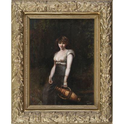 Óleo sobre lienzo, retrato de dama con cántaro sobre fondo neutro. Presenta faltas en el lienzo. 30.5x23cm / 42.5x35cm