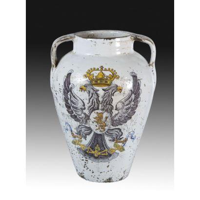 Jarrón de cerámica, Talavera o Toledo, siglo XIX.