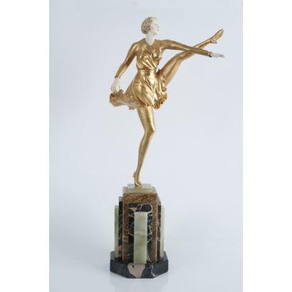Criselefantina en bronce y marfil,