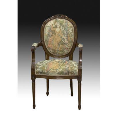 Muebles. Silla estilo Luis XVI, pps. XX.